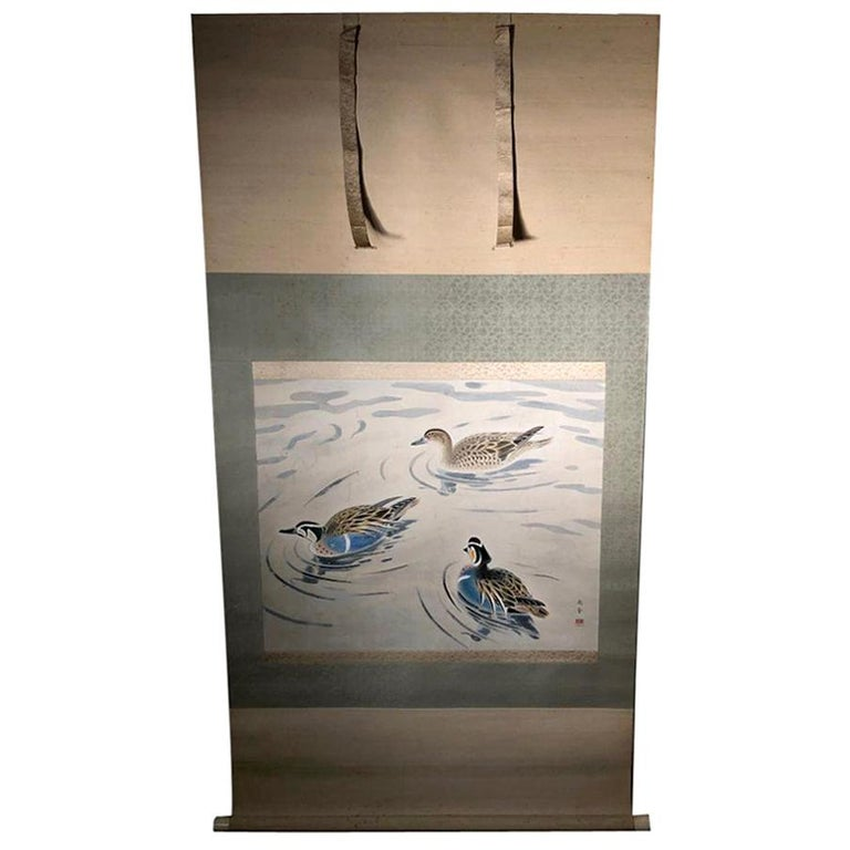 "Extraordinary Antique Japanese ""Three Mandarin Ducks"" Hand Painted Silk Scroll For Sale"