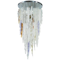1970s Multi-Color Murano Glass Pendant Chandelier by Mazzega