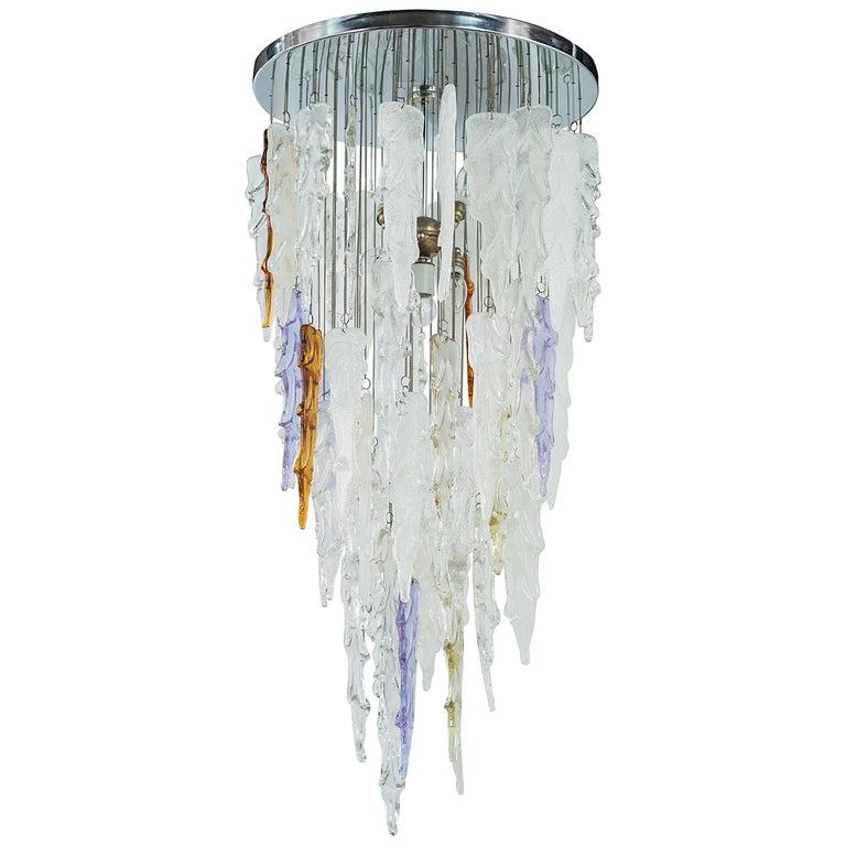 1970s Multi-Color Murano Glass Pendant Chandelier by Mazzega For Sale