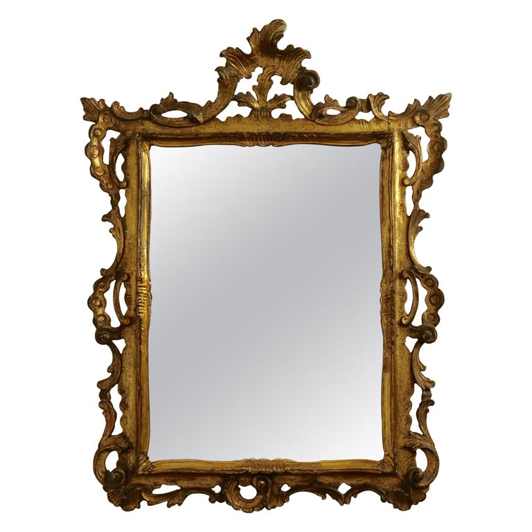 Gilt and Carved Wood Framed Mirror, Italian circa 1800 For Sale