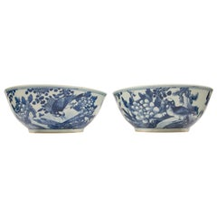 Pair of Blue and White Chinese Punch Bowls Hand-Painted