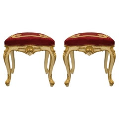 Pair of Italian 19th Century Louis XV Style Patinated and Giltwood Stools