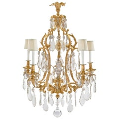 French 19th Century Louis XV Style Baccarat Crystal and Ormolu Chandelier