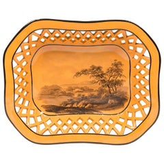 Antique Pottery Pierced Basket Painted with Country Scene on Orange Ground