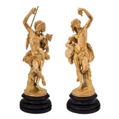 Pair of French Louis XVI Style Ormolu Festive Figural Statues, Signed Devaulx