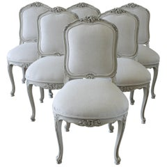 20th Century Set of Six Carved French Dining Chairs Upholstered in Belgian Linen