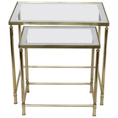 Nesting Tables in Brass and Mirrored Glass by Maison Jansen, France, 1970s