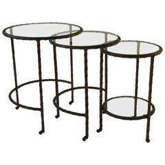 1950s Baguès Bronze Circular Nesting Tables