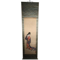 "Japan Old Japanese Tea Scroll ""Kimono Beauty & CAT"" Hand Painted Silk Scroll"