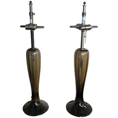 Gorgeous Pair of Murano Art Glass Trumpet Lamps