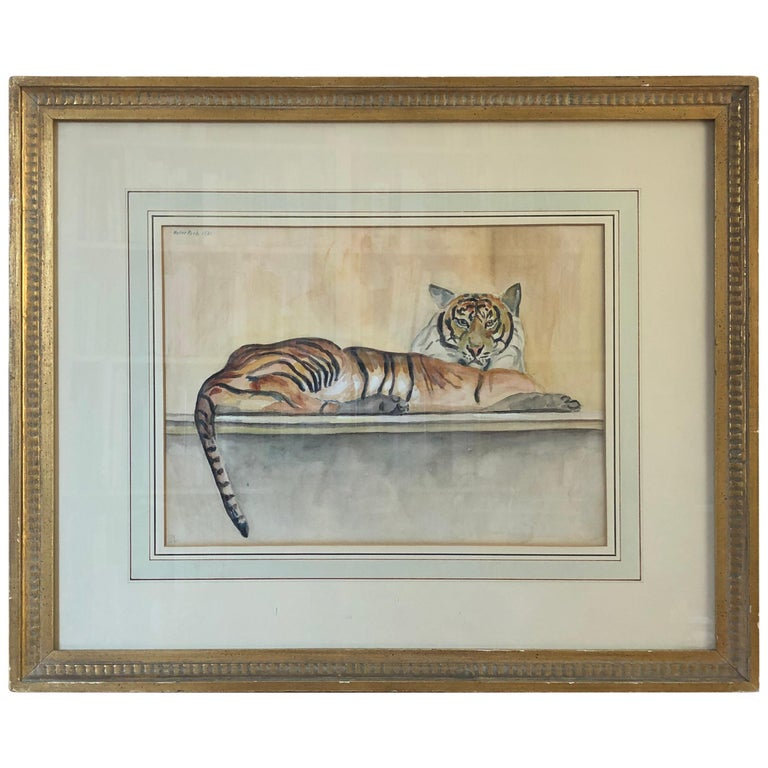 """Walter Pach """"Le Tigre"""" Watercolor and Pencil on Paper For Sale"""