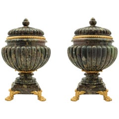 Pair of French 19th Century Neo-Classical Marble and Ormolu Lidded Urns