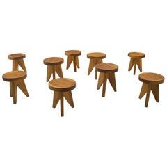 Three-Legged Wooden Stools in Manner of Pierre Chapo, France, 1960s