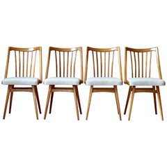 Set of 4 Dining Chairs, Midcentury, Reupholstered in Kvadrat Fabric