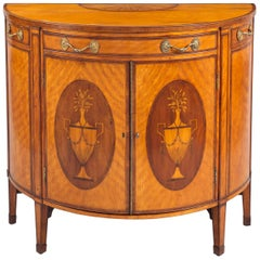 George III Satinwood Demilune Console Cabinet, circa 1790