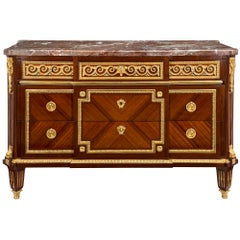 French Early 19th Century Louis XVI Style Tulipwood and Ormolu Five-Drawer Chest