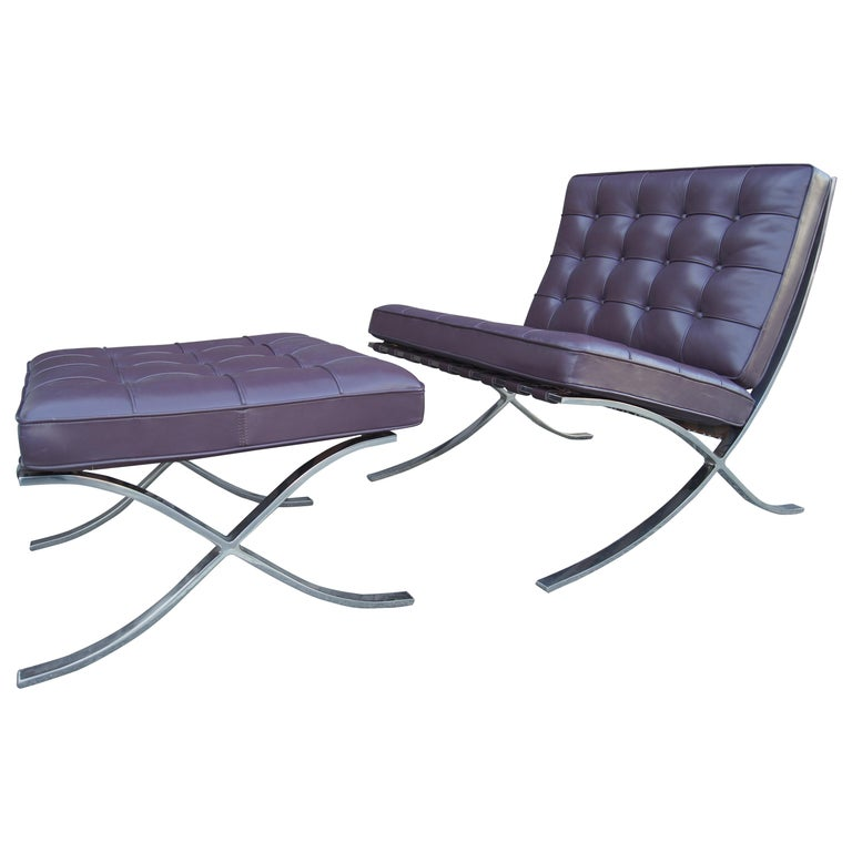 Eggplant Leather Barcelona Chair and Ottoman by Mies Van Der Rohe for Knoll For Sale