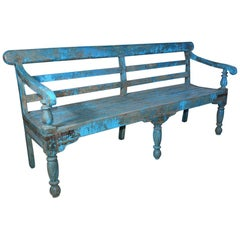 Antique Painted Teak Wood Garden Bench