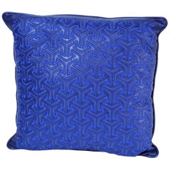 Blue Leather Embroidered Moroccan Throw Pillow