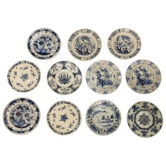 Eleven Hand-Painted Blue and White Delft Dishes 18th Century