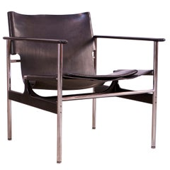 First Edition Charles Pollack for Knoll 657 'Sling Chair' in Black Leather