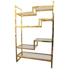 Brass Plated Étagère, Shelving Unit, 7 Smoke Glass Shelves