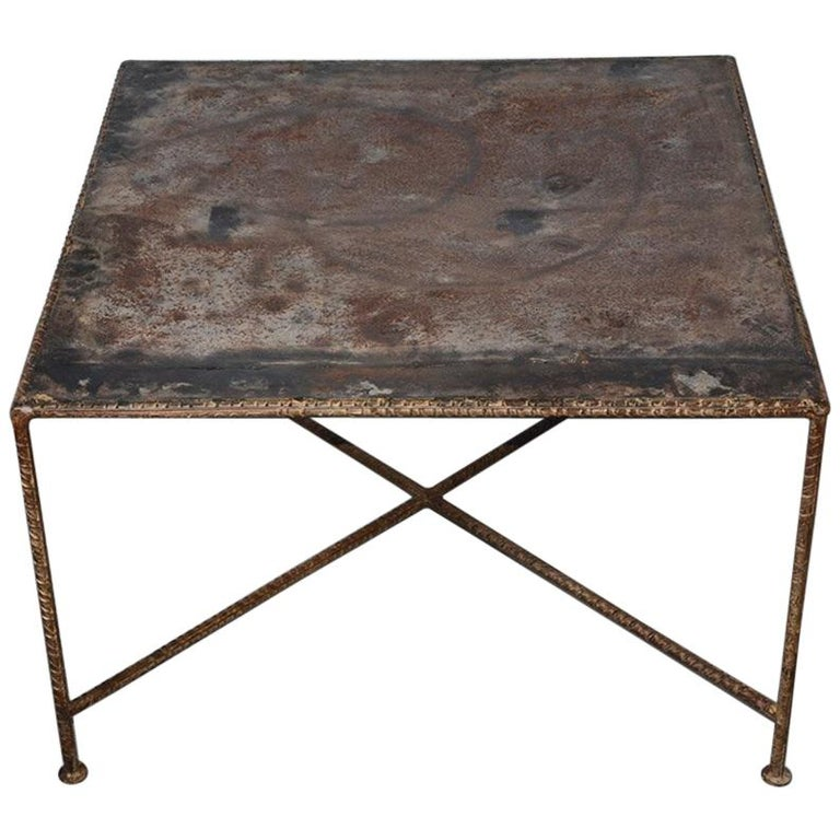 Industrial Style Square Metal Coffee Table For Sale