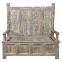 19th Century French Gothic Whitewashed Hall Bench