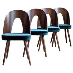 Set of 4 Dining Chairs by Antonin Šuman in Green Velvet by Kvadrat, Midcentury