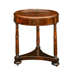 Austrian Biedermeier 1840s Walnut Side Table with Radiating Veneer and Shelf
