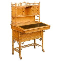 Chinese Chippendale Style Faux-Bamboo Tall Secretary with Slanted Lift-Top Desk