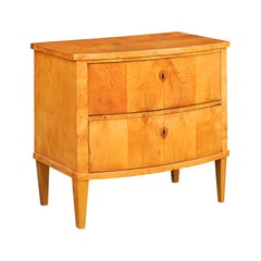 Austrian Biedermeier Honey Color 1870s Two-Drawer Veneered Bow-Front Commode