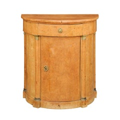 Biedermeier 1840s Birch Bow Front Cabinet with Bronze Capitals, Drawer and Door