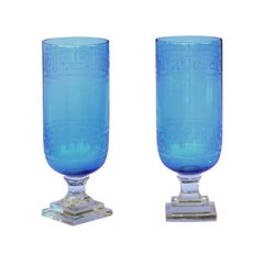Pair of Vintage English Blue Glass Tall Vases with Greek Key Motifs and Bases
