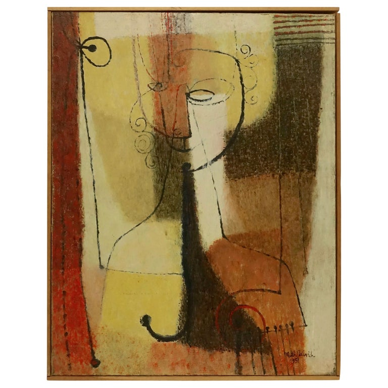 Midcentury Abstract Portrait Painting of a Woman, American, 1951 For Sale