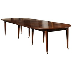 French 19th Century Walnut Oval Extension Dining Room Table with Leaves