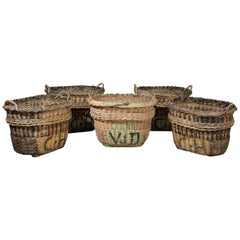 Large French Wicker Basket circa 1900 with Weathered Appearance and Handles