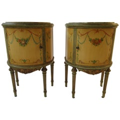 Pair of 1920s Marble-Top Adams Style Demilunes