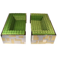 "Pair of ""Cityscape"" Settees Designed by Paul Evans for Directional"