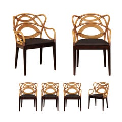 Staggering Set of 6 Sculptural Scalloped Back Dining Chairs, circa 1995