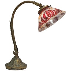 French Art Nouveau Lamp with Cameo Glass Shade
