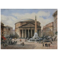 Three Italian Framed Watercolors of Scenes of Rome