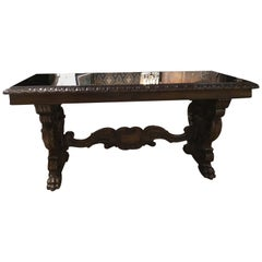 Spanish Console Table in Carved Dark Walnut with Mirrored Top