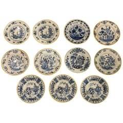 Antique Blue and White Delft Dishes Hand-Painted in the 18th Century