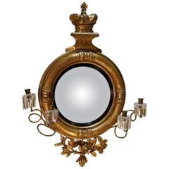 19th Century English Regency Convex Looking Glass with Girandole Arms