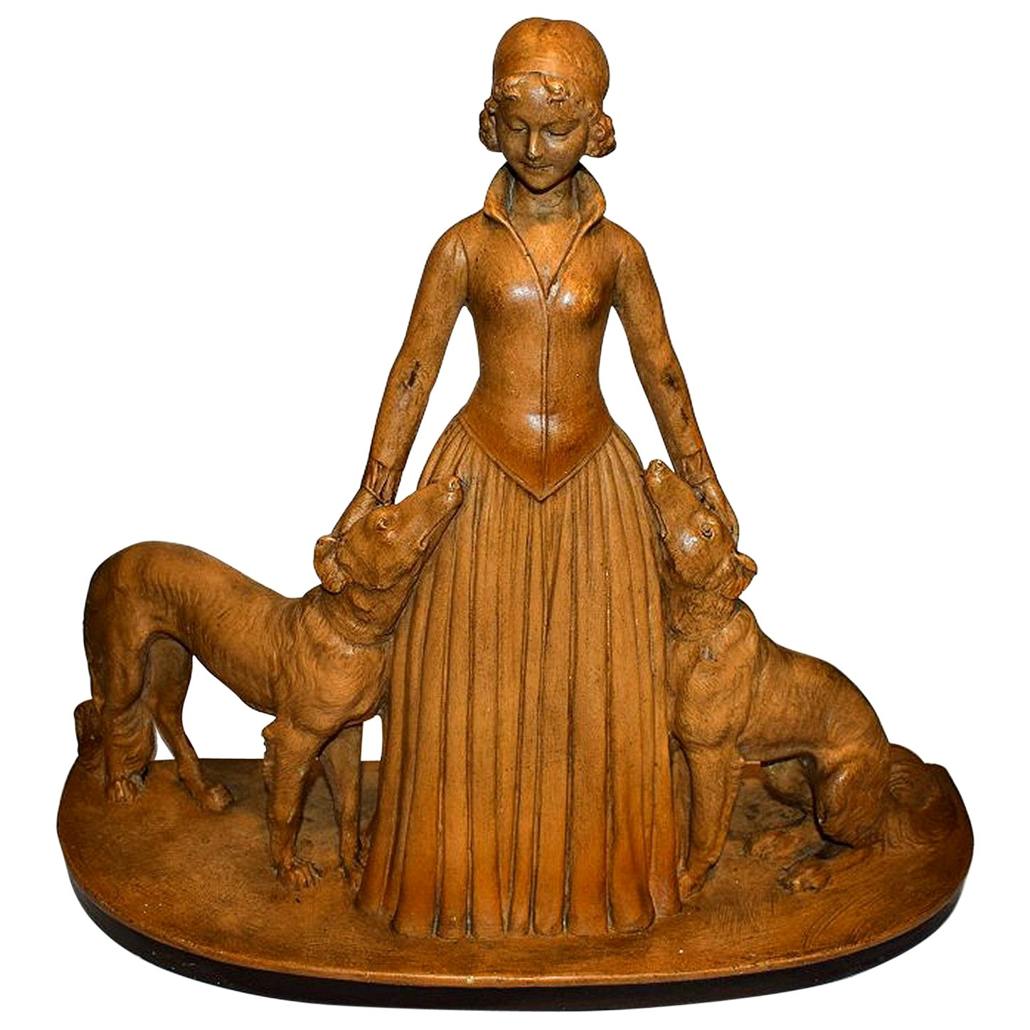 Art Deco Original Figure 'Woman with Greyhounds', circa 1930