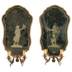 Pair of Wooden Mirrors with Murano Glass, Venice 18th Century, Venetian Rococò