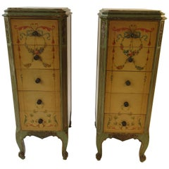 Pair of Tall 1920s Marble-Top Adams Style Side Tables
