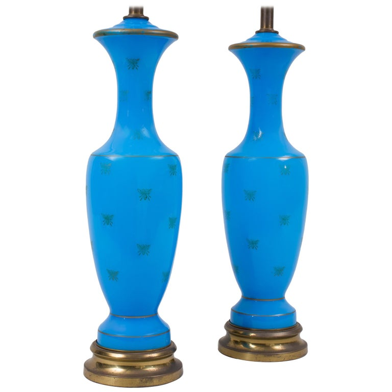 Pair of Blue Opaline Glass Lamps with Bee Decoration For Sale
