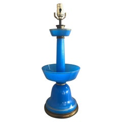 Blue Opaline Glass Lamp
